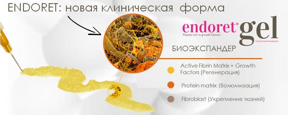 Новая терапевтическая форма плазмы: аутологичный БИОЭКСПАНДЕР - ENDORET GEL - для волюмизации и биостимуляции кожи.
